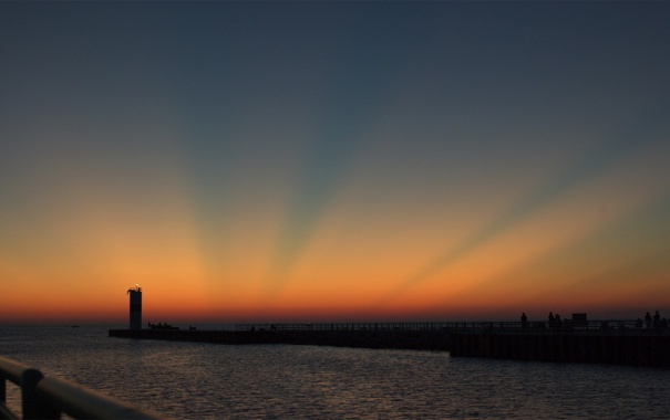 Фото обои море, пейзаж, закат, природа, вечер, причал, пирс