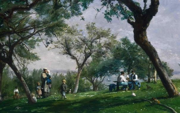 Фото обои небо, трава, пейзаж, природа, дети, стол, люди