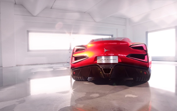 Фото обои Красный, Машина, Купэ, Спорткар, Вид сзади, Помещение, Vulcano