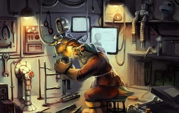 Фото обои механик, роботы, инструменты, мастерская, чертежи, детали, Mechanical engineer