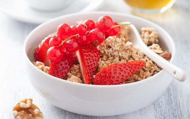 Фото обои хлопья, cereals, Здоровый завтрак, мюсли с молоком и фруктами и ягодами, muesli with milk and ...