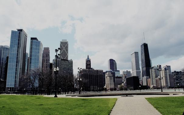 Фото обои небо, трава, здания, небоскребы, фонтан, USA, америка