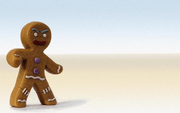 Фото обои мультфильм, Шрек, Shrek, пряня, печенька