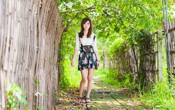 Фото обои азиатка, тропинка, забор зелёные листья