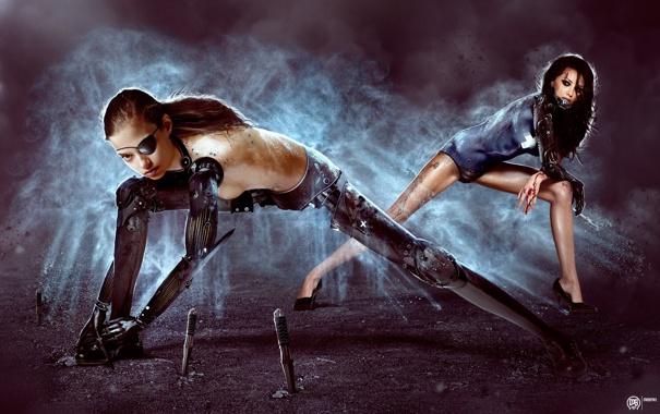 Фото обои кровь, Девушки, когти, ножи, киборги, фотоманипуляция, art by MadSpike