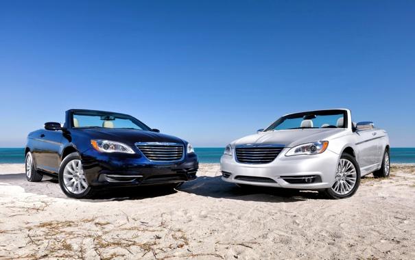 Фото обои Авто, Черный, Chrysler, Кабриолет, Серый, 200, Передок