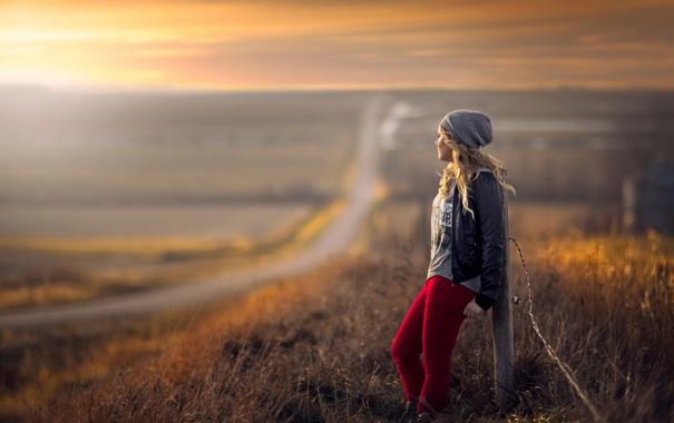 Фото обои дорога, простор, девочка, боке