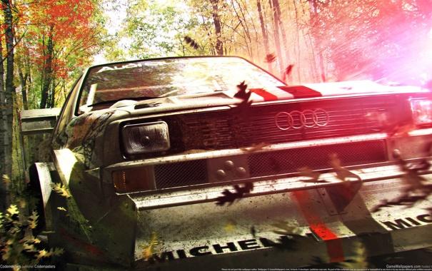 Фото обои машина, листья, игра, Dirt 3