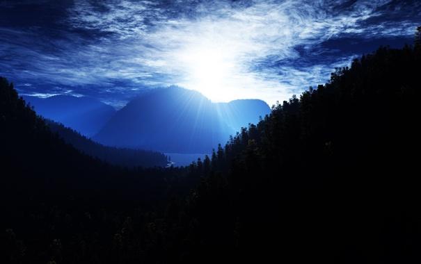 Фото обои природа, густые леса, видно реку