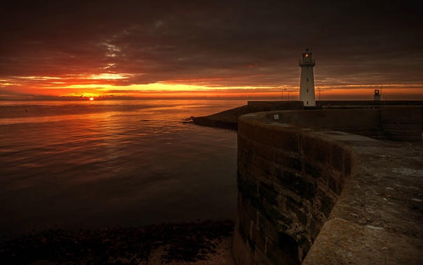 Фото обои море, пейзаж, ночь, маяк