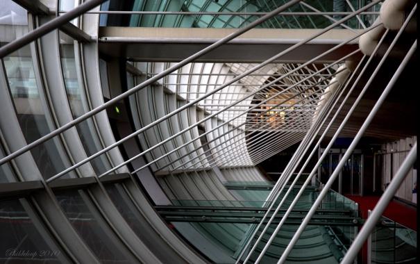 Фото обои стекло, дизайн, фото, балки, архитектура, картинка, металические