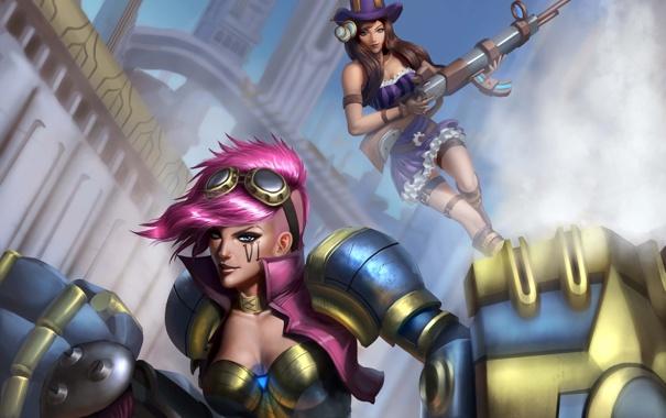 Фото обои оружие, девушки, арт, league of legends, caitlyn