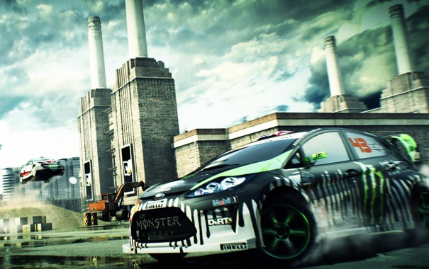 Фото обои завод, дрифт, ford, fiesta, monster energy, dirt3
