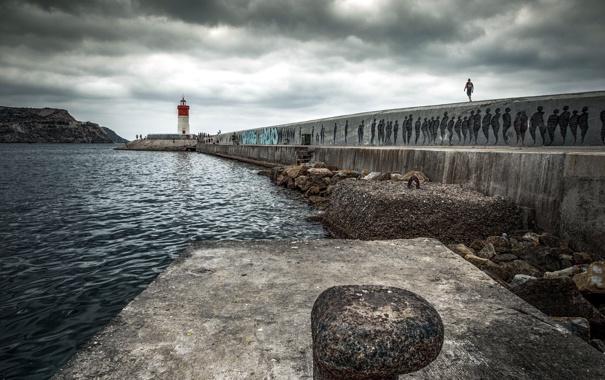 Фото обои пейзаж, маяк, пристань