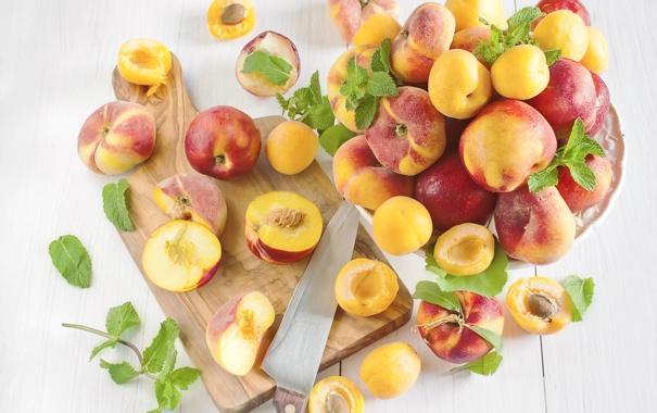 Фото обои персики, нектарины, Абрикосы