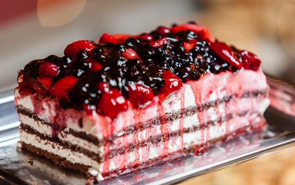 Фото обои ягоды, клубника, торт, пирожное, cake, крем, десерт