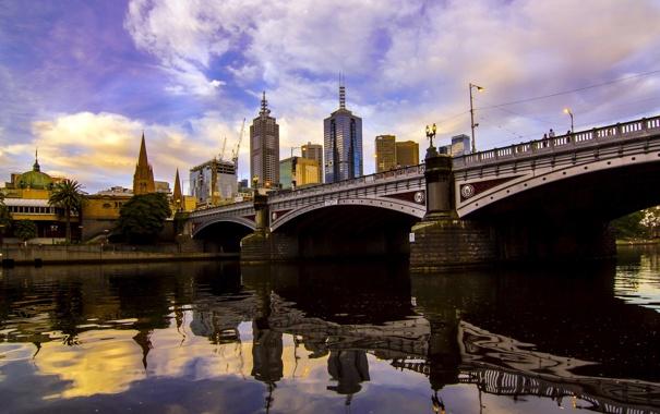 Фото обои Melbourne, Australia, Victoria, Princes Bridge, Southbank