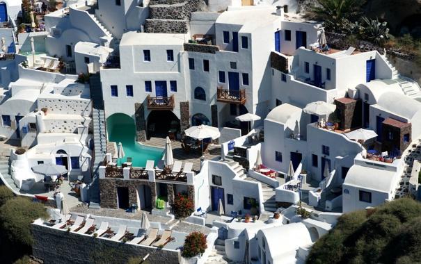 Фото обои дома, бассейн, Санторини, Греция, двор