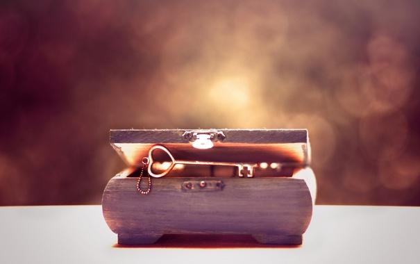 Фото обои сердце, ключ, шкатулка