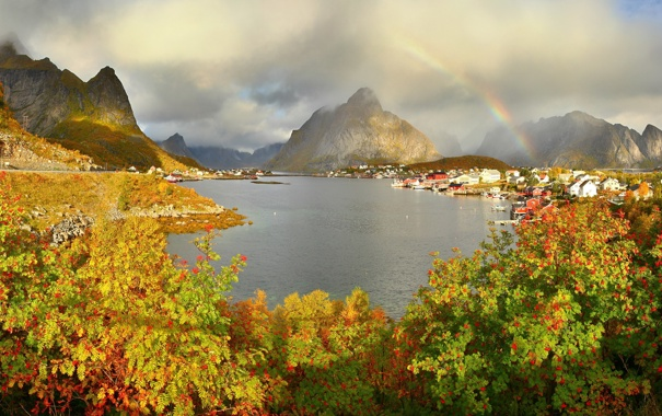 Фото обои облака, горы, природа, город, фото, радуга, Норвегия