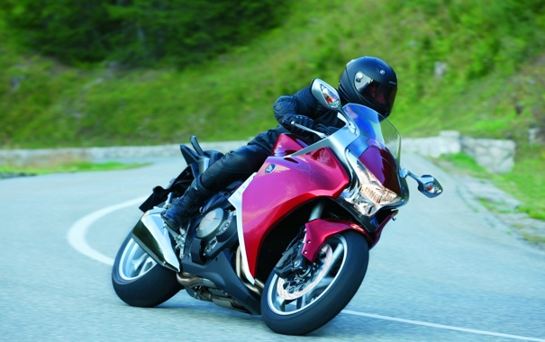 Фото обои дорога, красный, спорт, мотоцикл