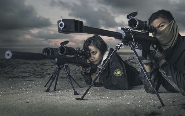 Фото обои оружие, machine gun, snipers