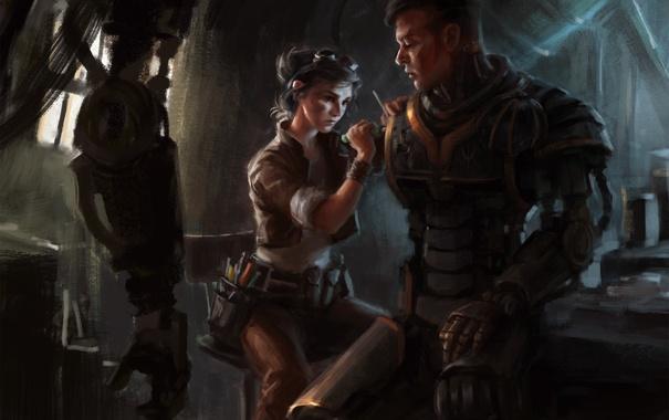 Фото обои девушка, металл, робот, рука, механик, арт, парень