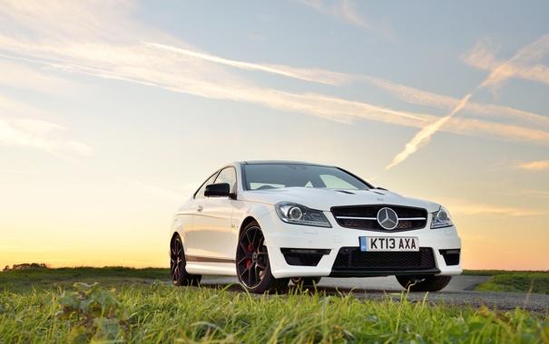Фото обои Mercedes-Benz, white, AMG, front, C63, 507, C-Klasse