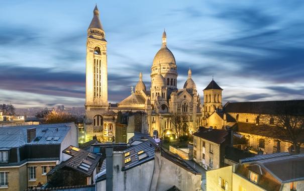 Фото обои пейзаж, базилика Сакре-Кёр, Монмартр, дома, Париж, Франция