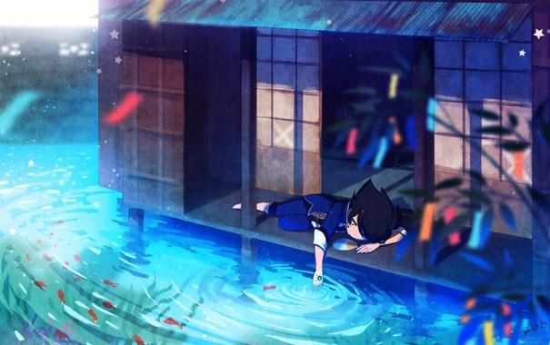 Фото обои вода, рыбки, дом, растение, аниме, мальчик, арт