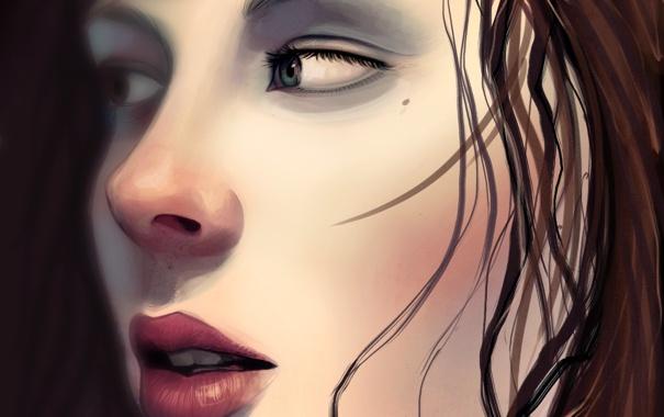 Фото обои взгляд, девушка, лицо, волосы, арт, губы, крупным планом