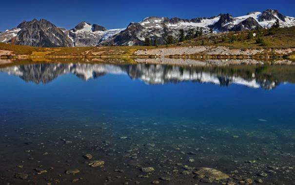 Фото обои горы, озеро, Boundless