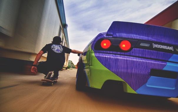 Фото обои машина, nissan, ниссан, hawk, 240sx, skateboard, хоук