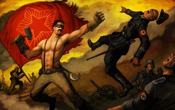 Фото обои испуг, молот, герой, летит, серп, немцы, знамя