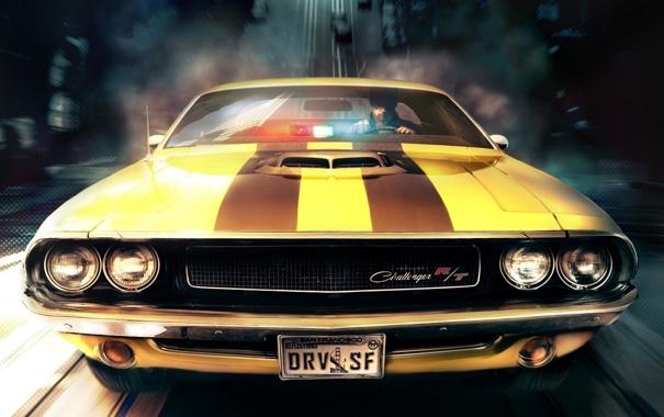 Фото обои скорость, погоня, Driver, Dodge Challenger R/T
