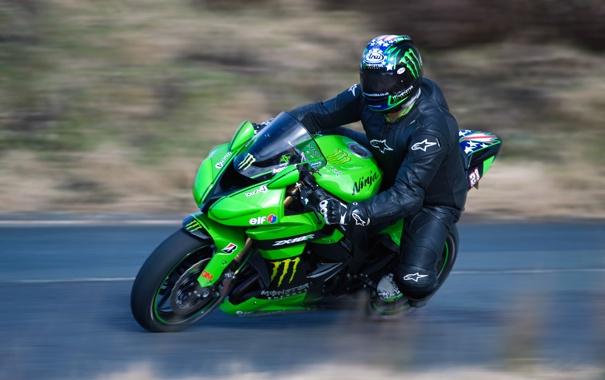 Фото обои Фото, Дорога, Скорость, Мотоцикл, Трасса, Kawasaki, ZX-10R
