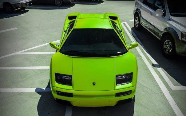 Фото обои зеленый, Lamborghini, суперкар, ламборджини, Diablo, диабло