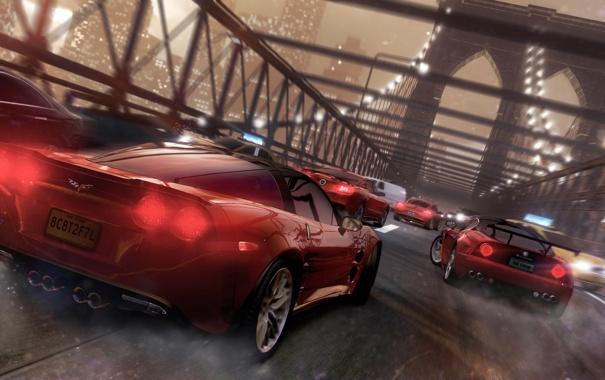 Фото обои машины, мост, город, гонка, ubisoft, нью йорк, the crew