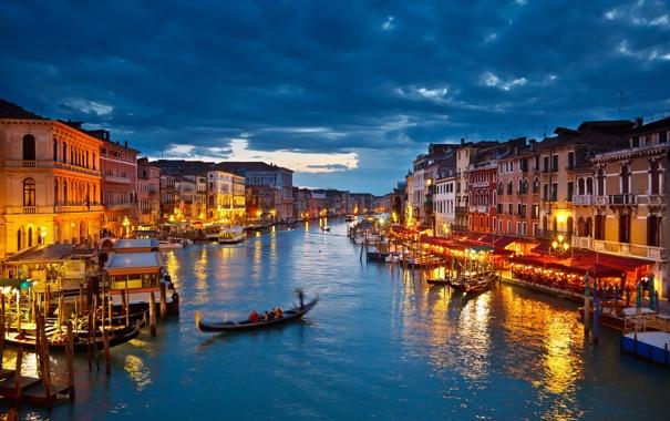 Фото обои city, город, lights, Италия, Венеция, канал, Italy