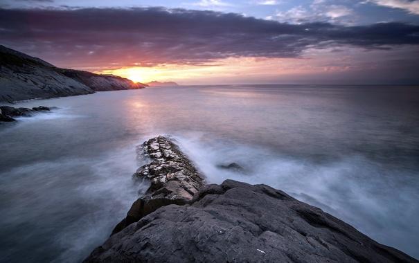 Фото обои закат, пейзаж, скалы, море
