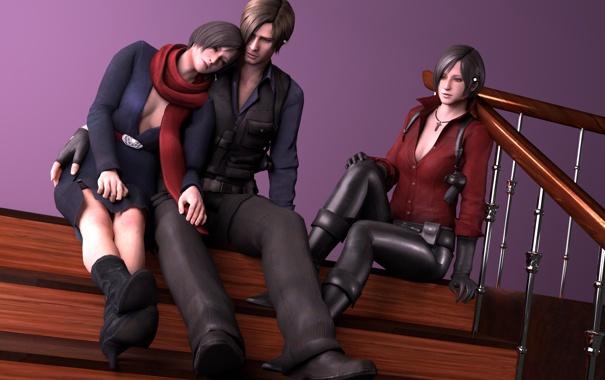 Фото обои Resident Evil, fanart, Biohazard, Leon Scott Kennedy, Ada Wong, Carla Radames