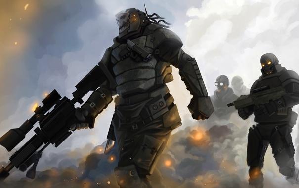 Фото обои туман, пистолет, оружие, дым, войны, арт, автомат