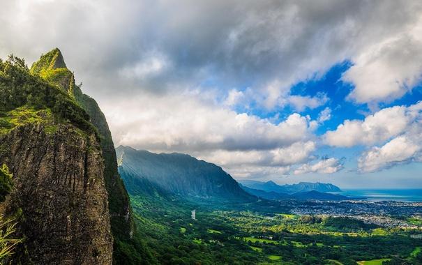Фото обои море, горы, природа, вид, панорама