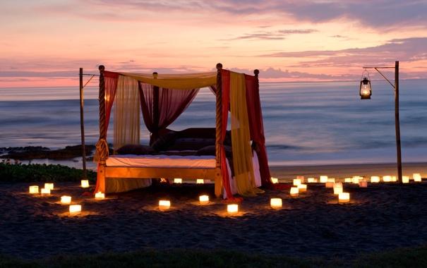 Фото обои пляж, океан, романтика, вечер, свечи