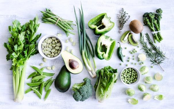 Фото обои зеленый, укроп, фрукты, овощи, петрушка, авокадо