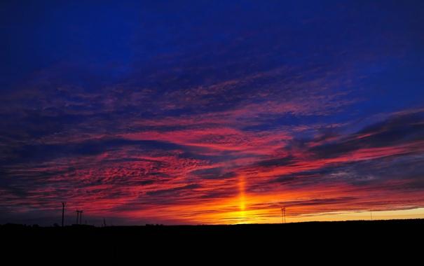 Фото обои небо, облака, закат, горизонт, опора, зарево