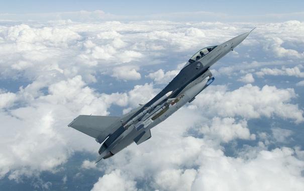 Фото обои истребитель, F-16, Fighting Falcon, многоцелевой, «Файтинг Фалкон»