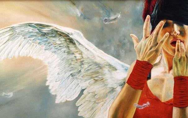 Фото обои девушка, перо, крылья, повязка, Wlodzimierz Kuklinski