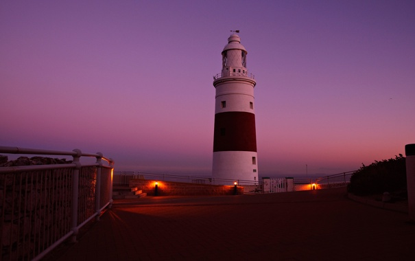 Фото обои небо, огни, маяк, вечер, ограждение