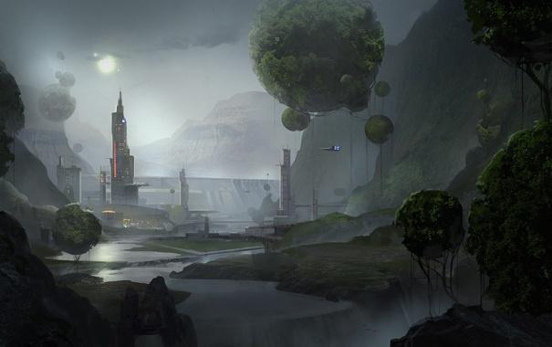 Фото обои город, шары, корабль, арт, фантастический мир